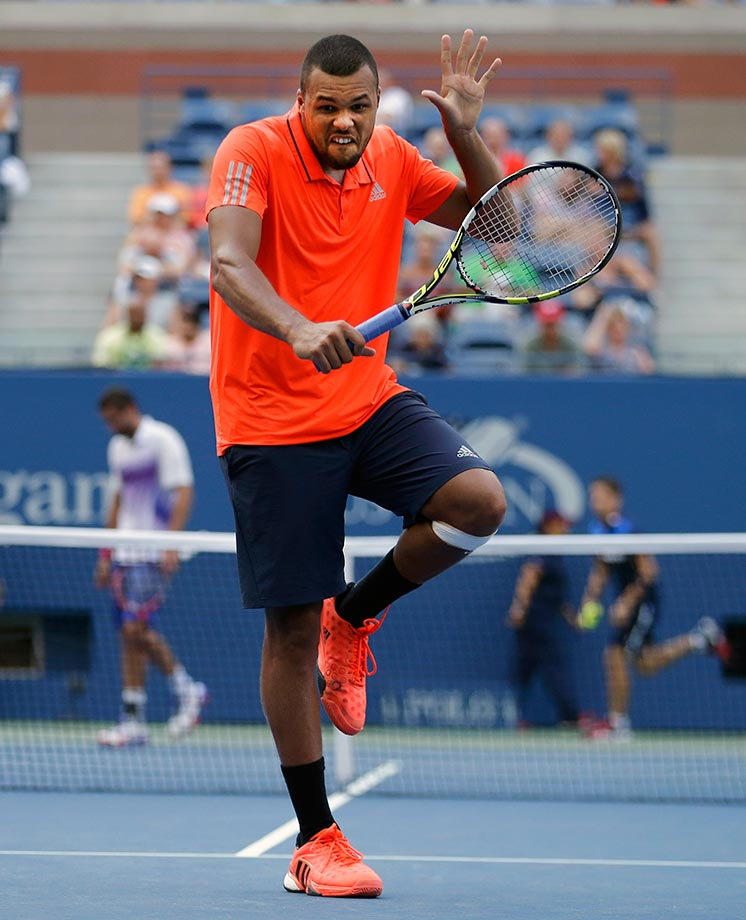 Jo-Wilfried Tsonga puts on a face after a shot to Marin Cilic in the quarterfinals of the U.S. Open.