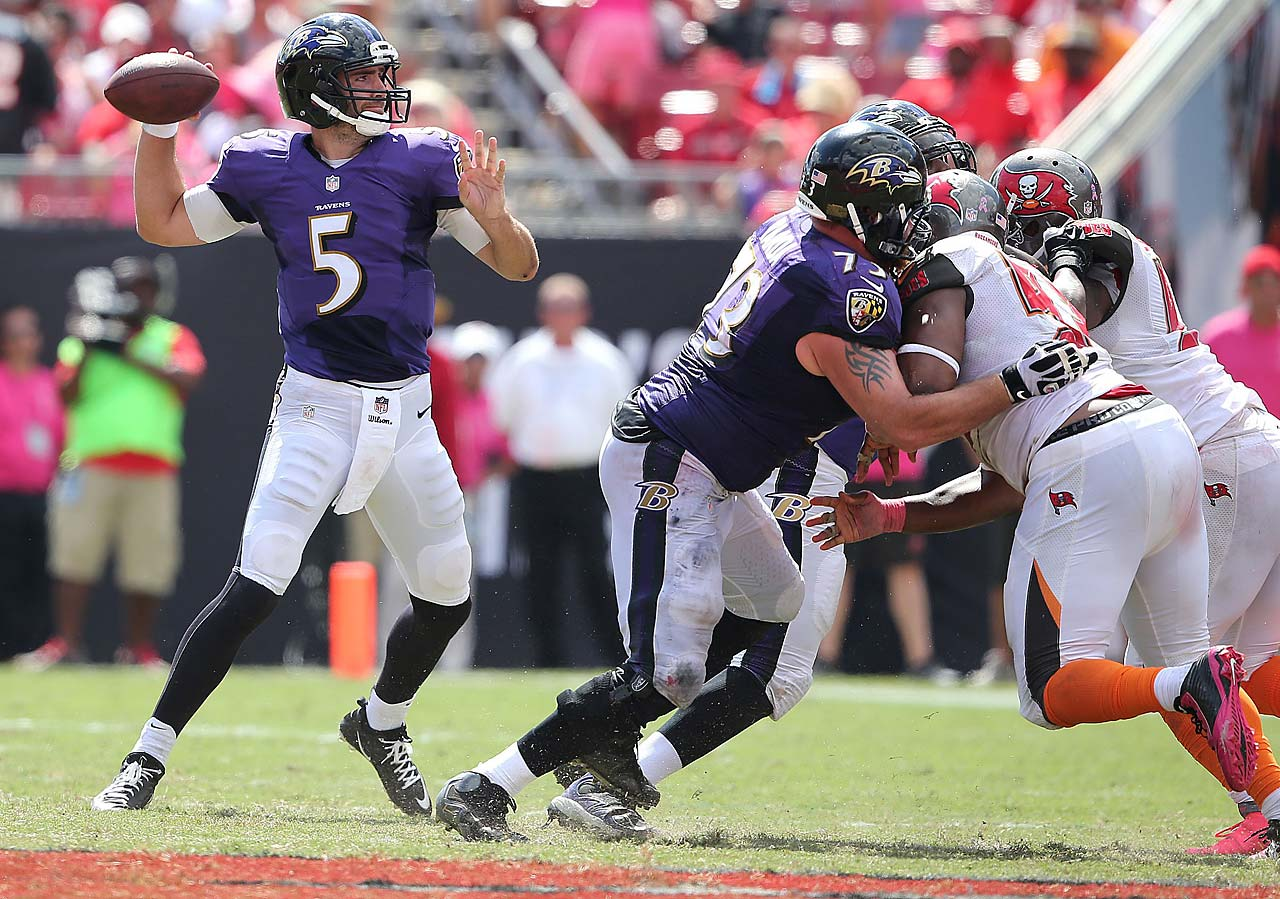 Joe Flacco threw for 306 yards and five touchdowns in Baltimore's 48-17 victory over Tampa Bay.