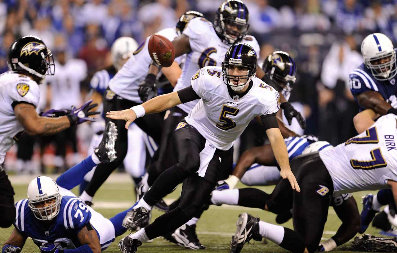 On the day that he turned 25, Joe Flacco was intercepted twice and threw for only 189 yards as the Ravens lost a divisional playoff game 20-3 at Indianapolis.