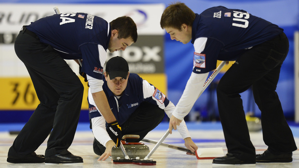 After a disappointing performance in Vancouver, John Shuster (center) hopes to lead the U.S. to glory in Sochi.