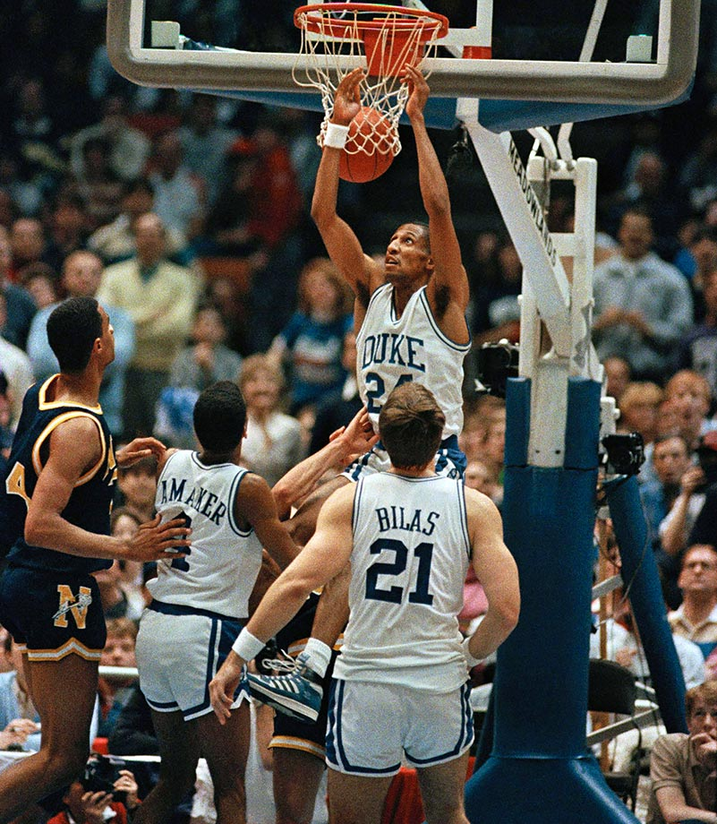 After just three NCAA tournament bids in 17 years, a stretch of disappointment that extended into Dawkins' freshman year, the two-time first-team All-America sparked a major turnaround that has continued nearly unabated since. Following an 11-17 record in 1982-83, when Dawkins averaged 18.1 points per game, Duke won 84 of its 105 games over the next three seasons, capping off Dawkins' career as a Blue Devil with a championship game appearance. Duke made the tournament each of Dawkins' final three years and Dawkins made two All-American first-teams in addition to winning the 1986 Naismith College Player of the Year. That season he brought Duke to the final of the NCAA tournament, scoring 24 points in a 72-69 loss to Louisville.