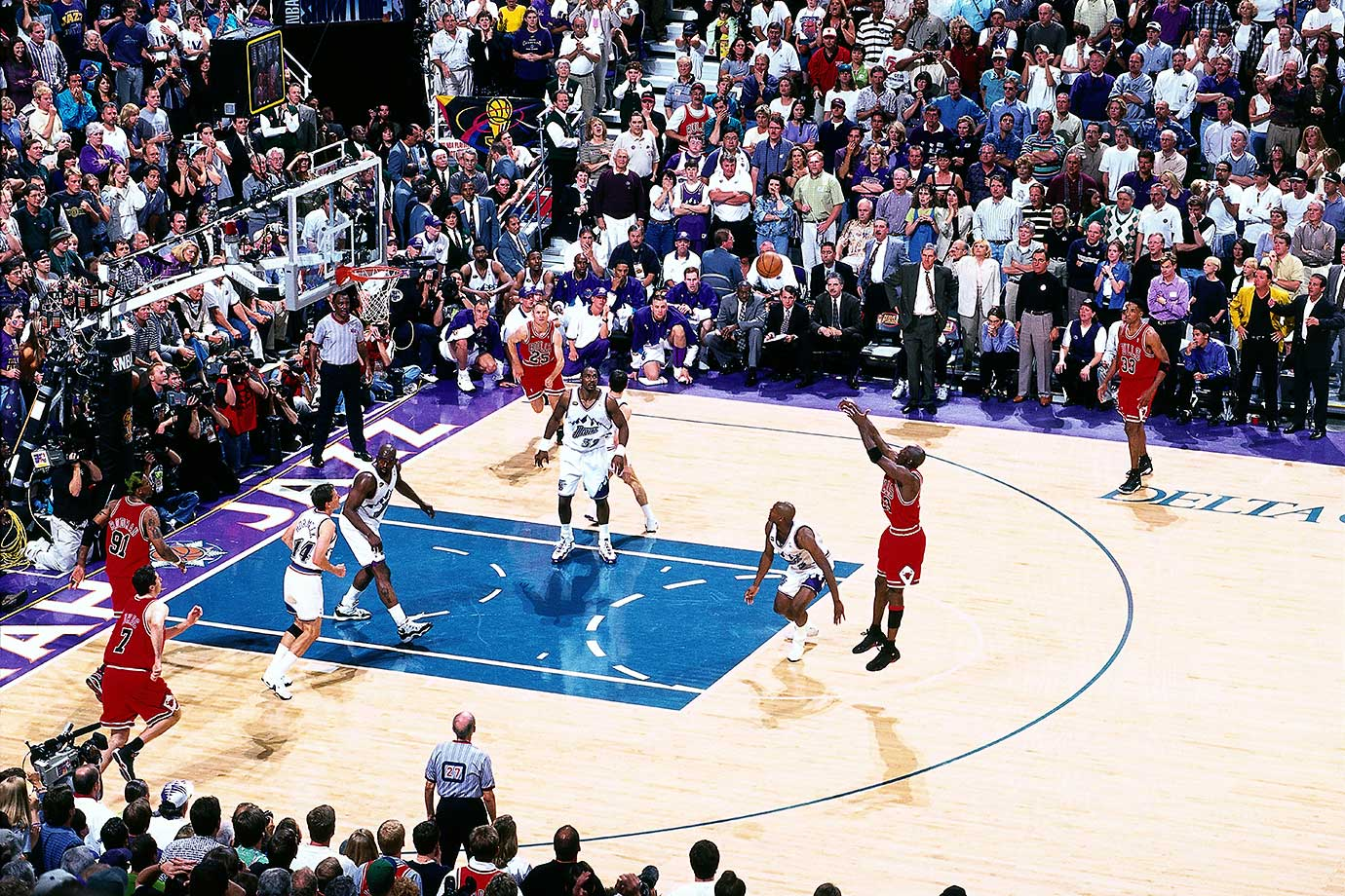 Though no official announcement had been made, most felt the 1997-98 season would be Jordan's last, and he wanted to go out on top. So with six seconds remaining in Game 6 of the NBA Finals, Jordan used a crossover dribble to fake out Byron Russell and nailed a 17-foot jumper to give the Bulls their sixth championship of the decade. Though he later returned to the NBA with the Washington Wizards, this was his last game with the Bulls.