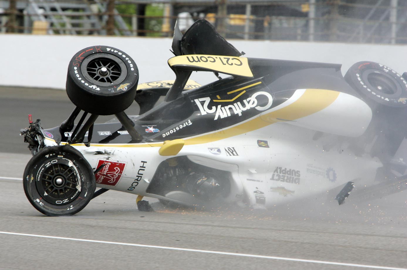 Another crash at practice for the Indy 500 -- Josef Newgarden slides down the track after hitting the wall.
