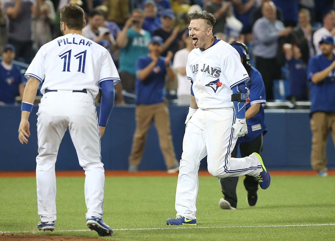 An ecstatic Josh Donaldson heads for home after giving the Toronto Blue Jays a 6-5 win over the Houston Astros on May 25 with a three-run walk-off homer in the ninth inning.