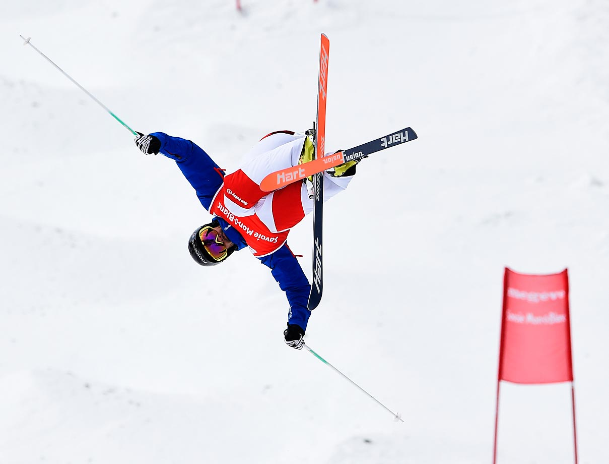 Anthony Benna of France takes first place in the FIS Freestyle Skiing Dual Moguls in France.