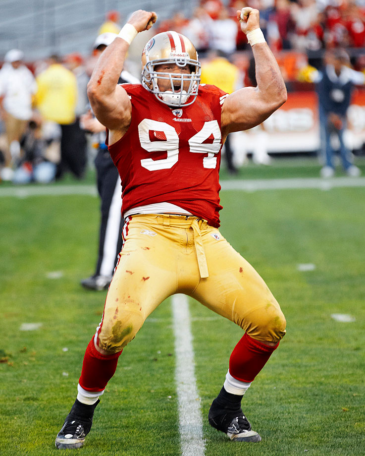 49ers defensive lineman Justin Smith announced his retirement on March 9, ending a 14-year career that included 87 sacks and five Pro Bowl selections. The No. 4 overall pick in the 2001 draft, Smith played seven seasons, primarily at defensive end, for the Cincinnati Bengals before shifting to tackle during seven years in San Francisco. His finest season came in 2011, when his All-Pro season helped lead the 49ers' defensive renaissance.