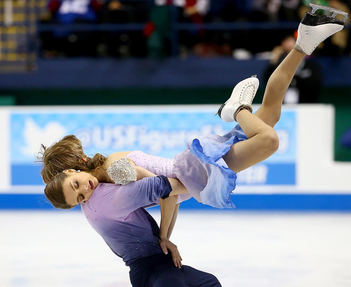 Kaitlin Hawayek and Jean-Luc Baker compete in the Championship Free Dance Program Competition during day 3 of the 2015 Prudential U.S. Figure Skating Championships.