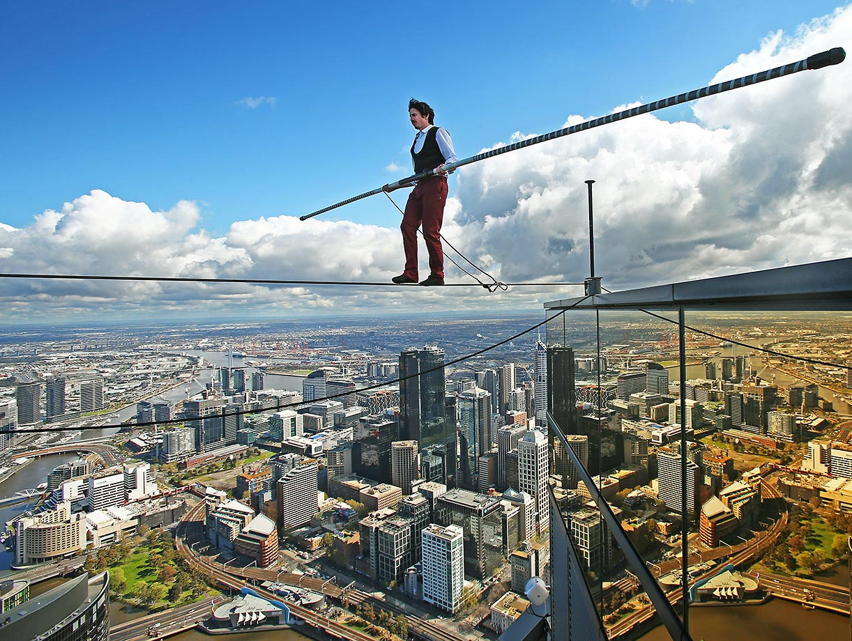 High-wire artist Kane Petersen successfully walks a tightrope 300 meters above Melbourne on Wednesday, Sept. 16. The walk was the highest tightrope walk ever attempted in the Southern Hemisphere.