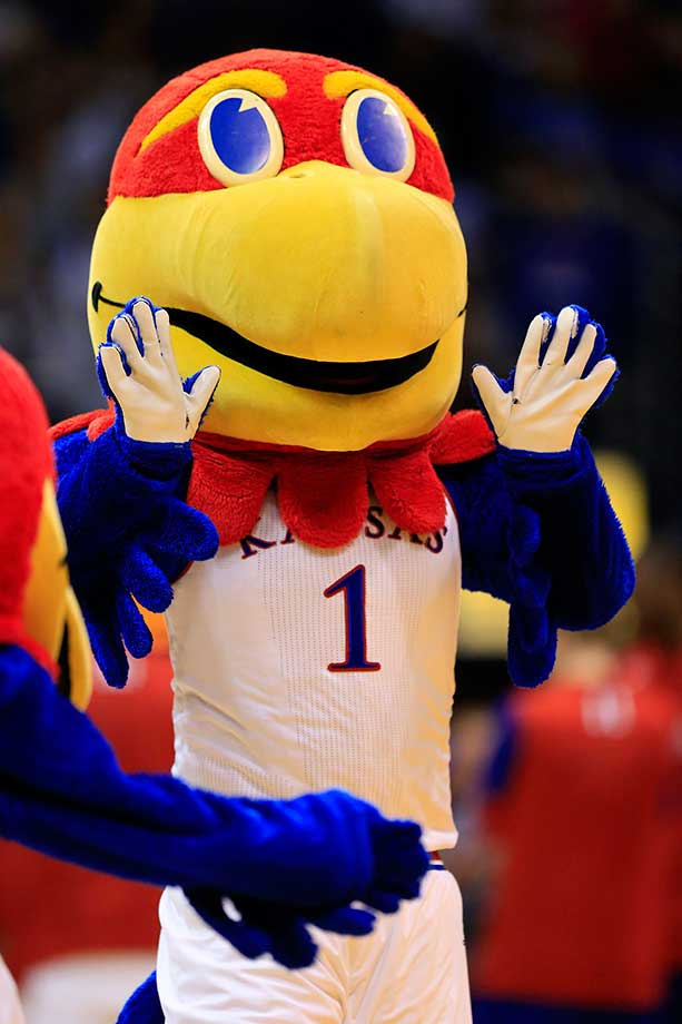 "No. 4: Kansas gets the benefit of having a tandem of mascots—Big Jay and Baby Jay. Big Jay usually wears a Kansas jersey with the No. 1, while Baby Jay's jersey has ""1/2"" across the front and he's nearly half the size. The Baby Jay costume was stolen in the '70s but was quickly recovered, reuniting him with his flightless but big-beaked companion. (Text credit: Andrew Wittrey/SI.com)"