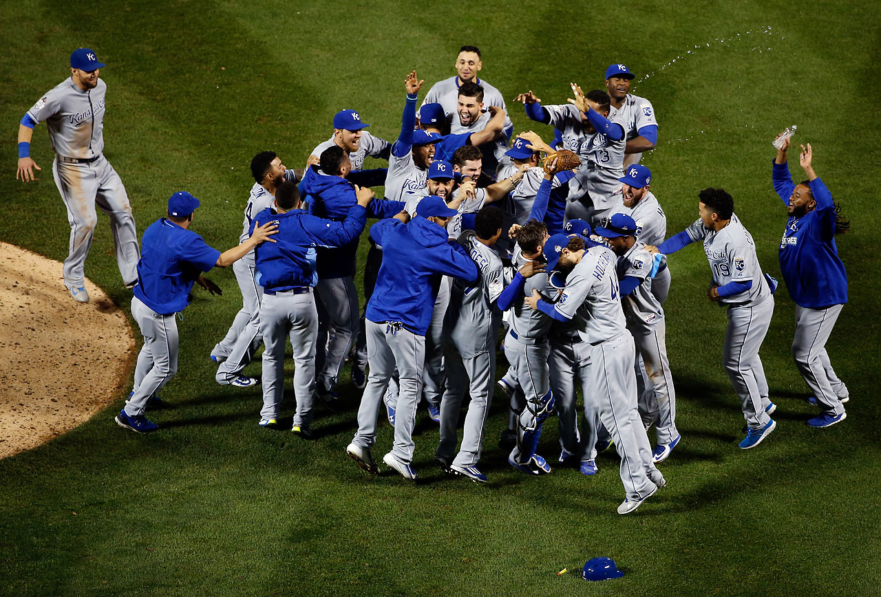 The Kansas City Royals celebrate defeating the New York Mets to win Game 5 and the 2015 World Series.