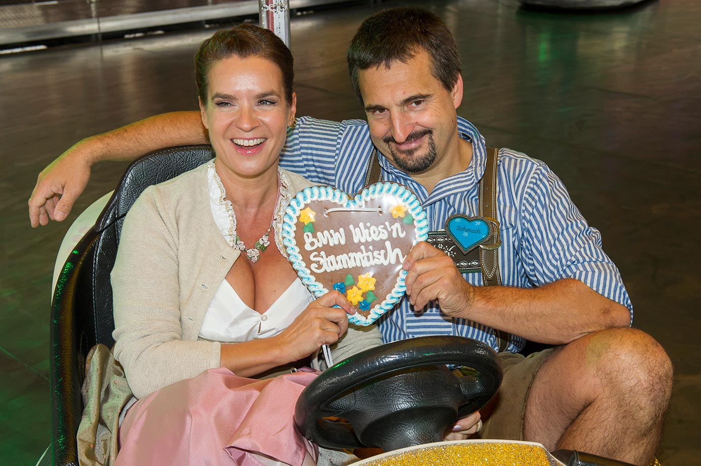 Katharina Witt and Georg Hackl attend Oktoberfest in Munich.