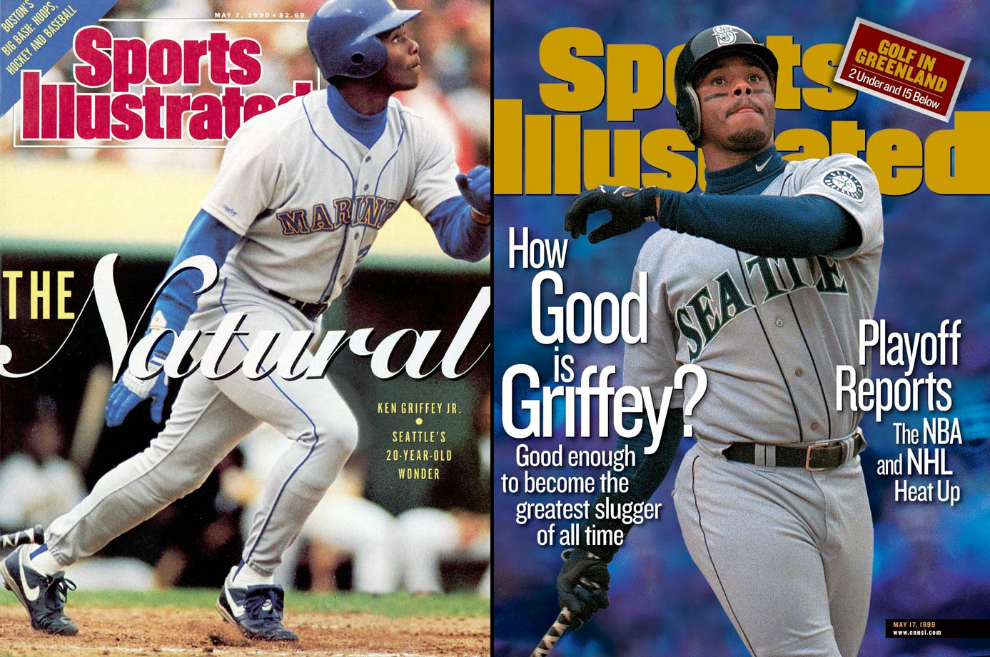 The son of former MLB outfielder Ken Griffey Sr., Junior blossomed into one of the best players of his generation, winning the AL MVP award in 1997, making the All-Star team 13 times, picking up 10 Gold Gloves and hitting 630 career homers. Griffey also led Seattle to its first postseason appearance in 1995. Junior was voted into the Hall of Fame in 2016 on his first ballot.