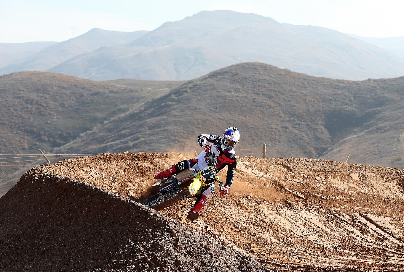 Ken Roczen hits the turn at the team practice facility in the hills of Corona, Calif.