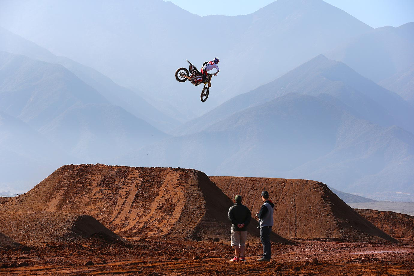 Roczen gets some big air on the team's practice track in Corona, Calif.
