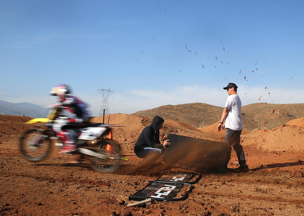 Ken Roczen practices his 'starts' at the team's training facility in Corona.