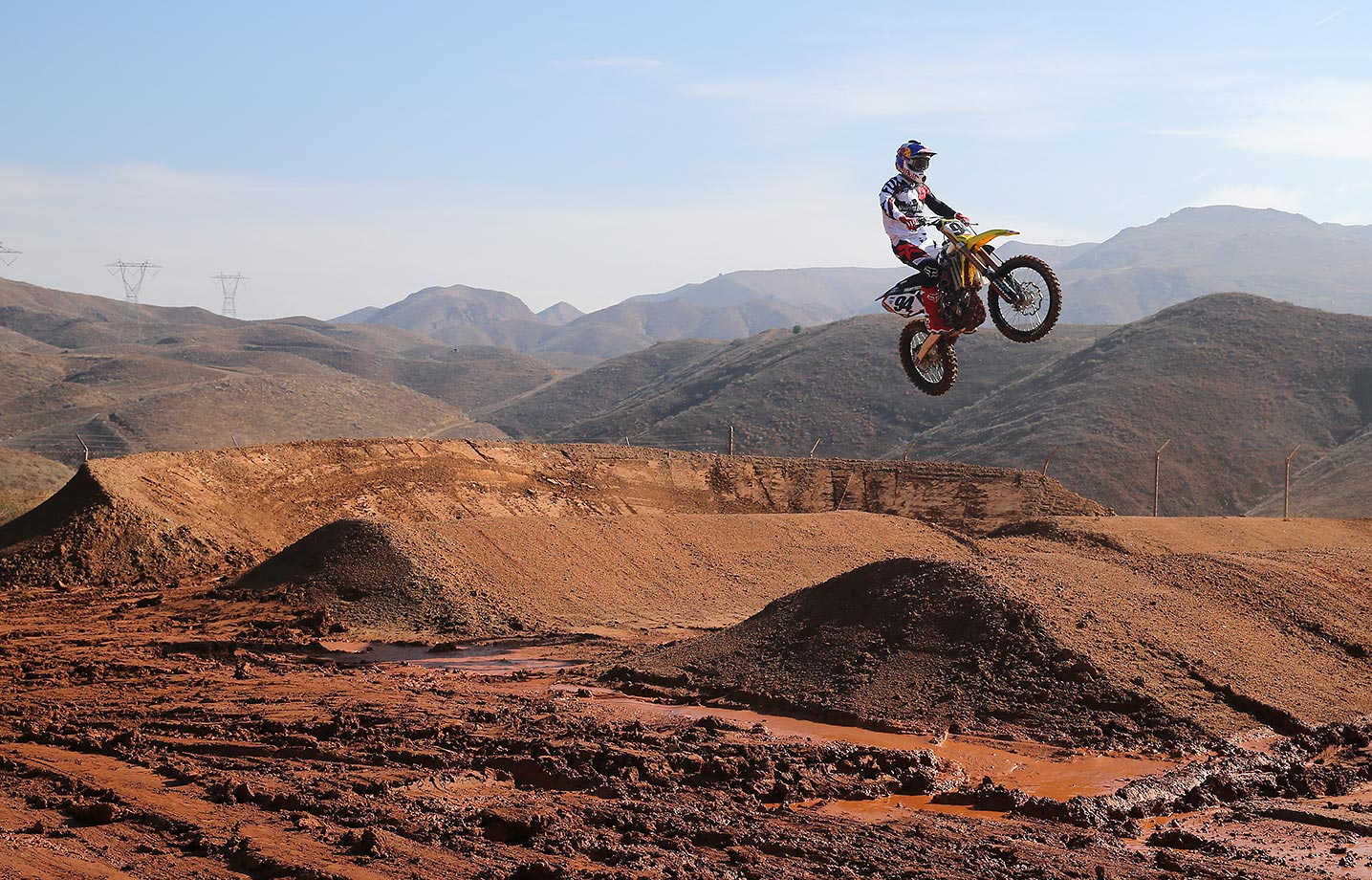 Ken Roczen gets some air on the 'whoops' section of the training facility.
