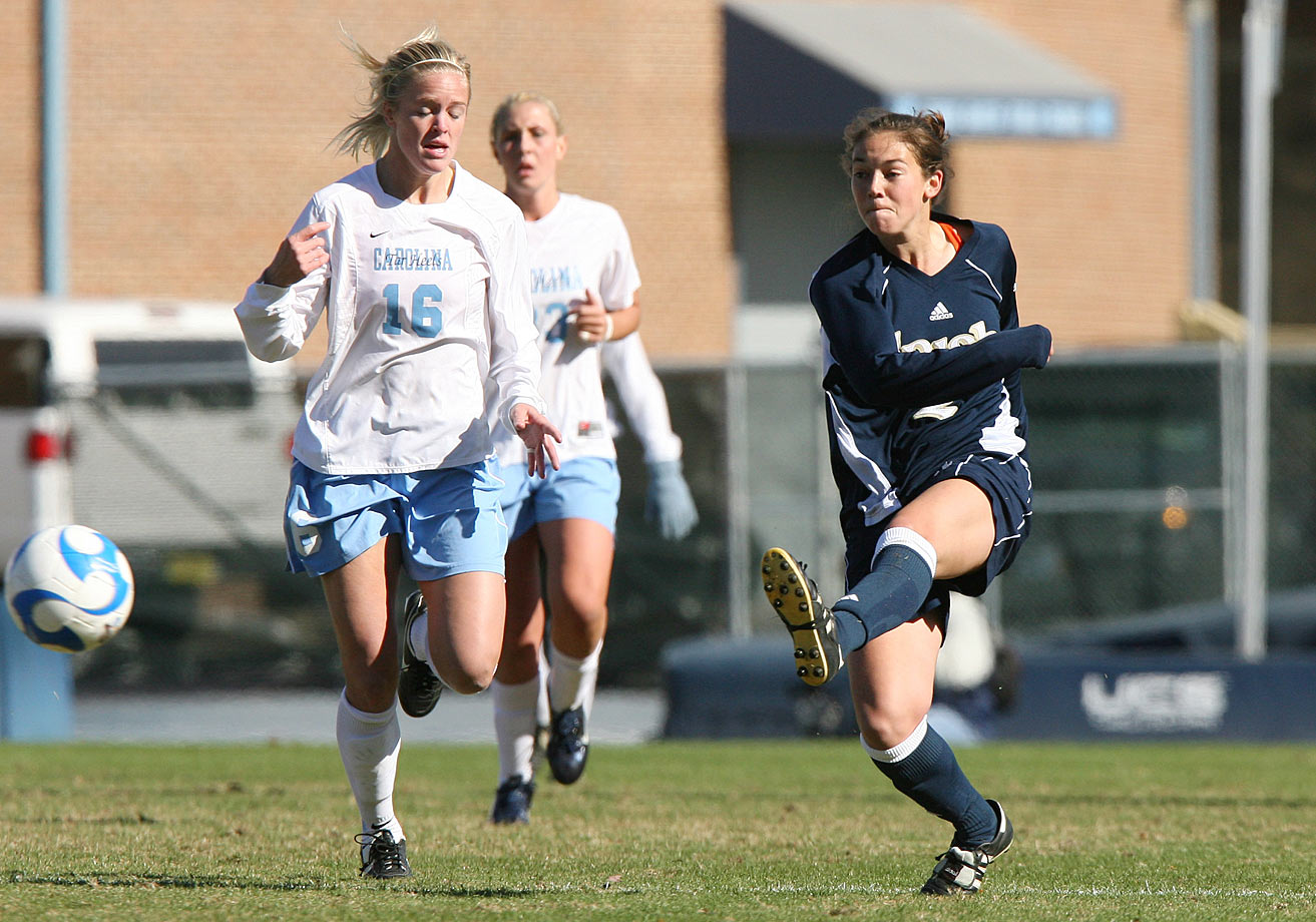 One of the greatest players in women's collegiate soccer history, Hanks earned All-American selection all four years. She also won two Hermann Trophies, college soccer's Heisman Trophy, becoming the first Notre Dame athlete in any sport to win two national player of the year awards. Hanks is the only player to record 73 goals and 73 assists in a career, finishing with 84 goals and 73 assists.