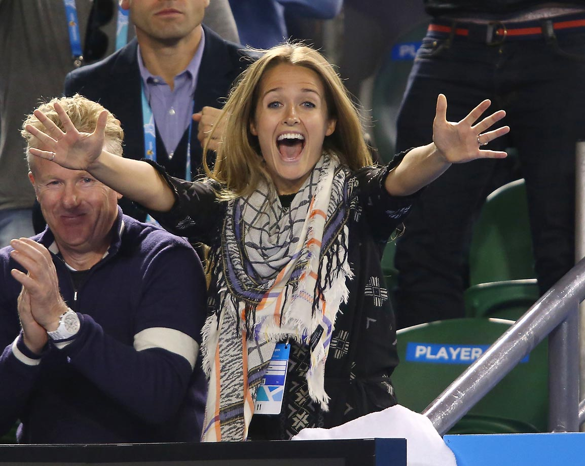Kim Sears, girlfriend of Andy Murray, celebrates when Andy wins his semifinal match  at the Australian Open.