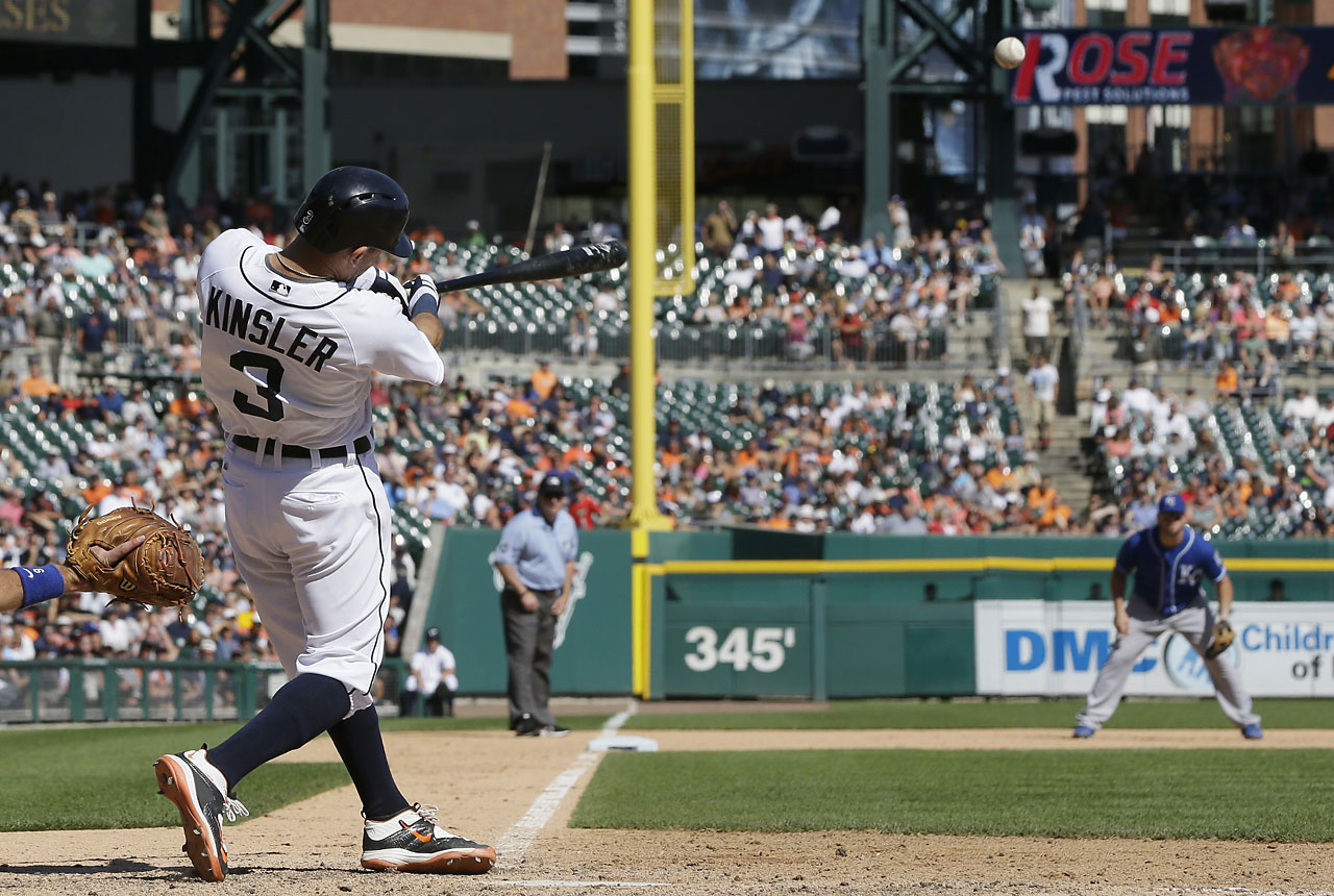 Ian Kinsler connected on this two-run walk-off home run in the ninth inning to give Detroit an 8-6 victory over the  Kansas City Royals on Aug. 6.