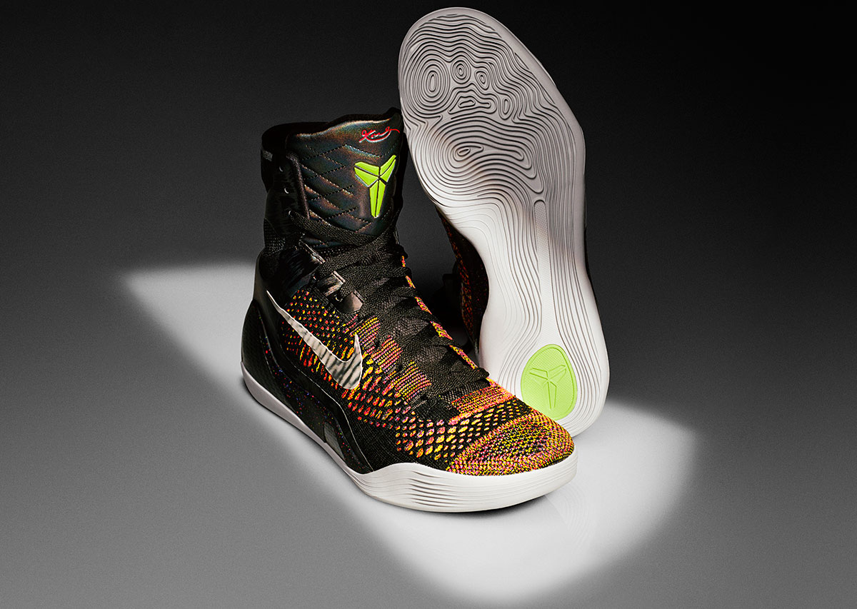 Nike brought its Flyknit fabric—an engineered yarn—to the basketball floor in a super-high top for Kobe. Lunarlon cushioning couples with a carbon heel for support under foot. With Flywire woven throughout the one-piece upper, the Kobe 9 Elite goes lightweight and stable.