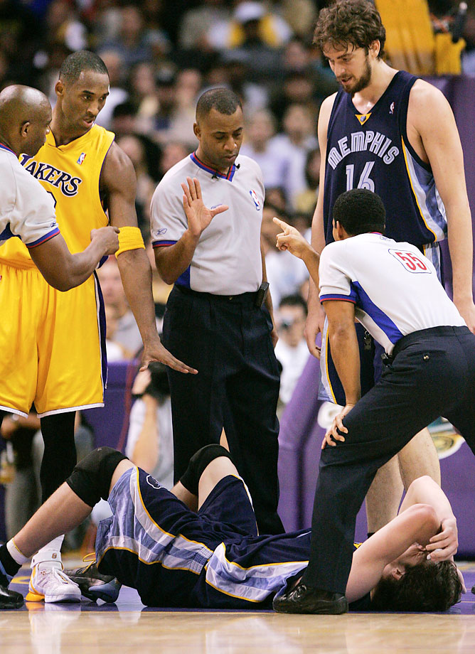 The L.A. Lakers star received a two-game suspension after elbowing the Memphis Grizzlies' Mike Miller in the throat. One year later he picked up a one-game suspension for another elbow, this time against San Antonio's Manu Ginobili.
