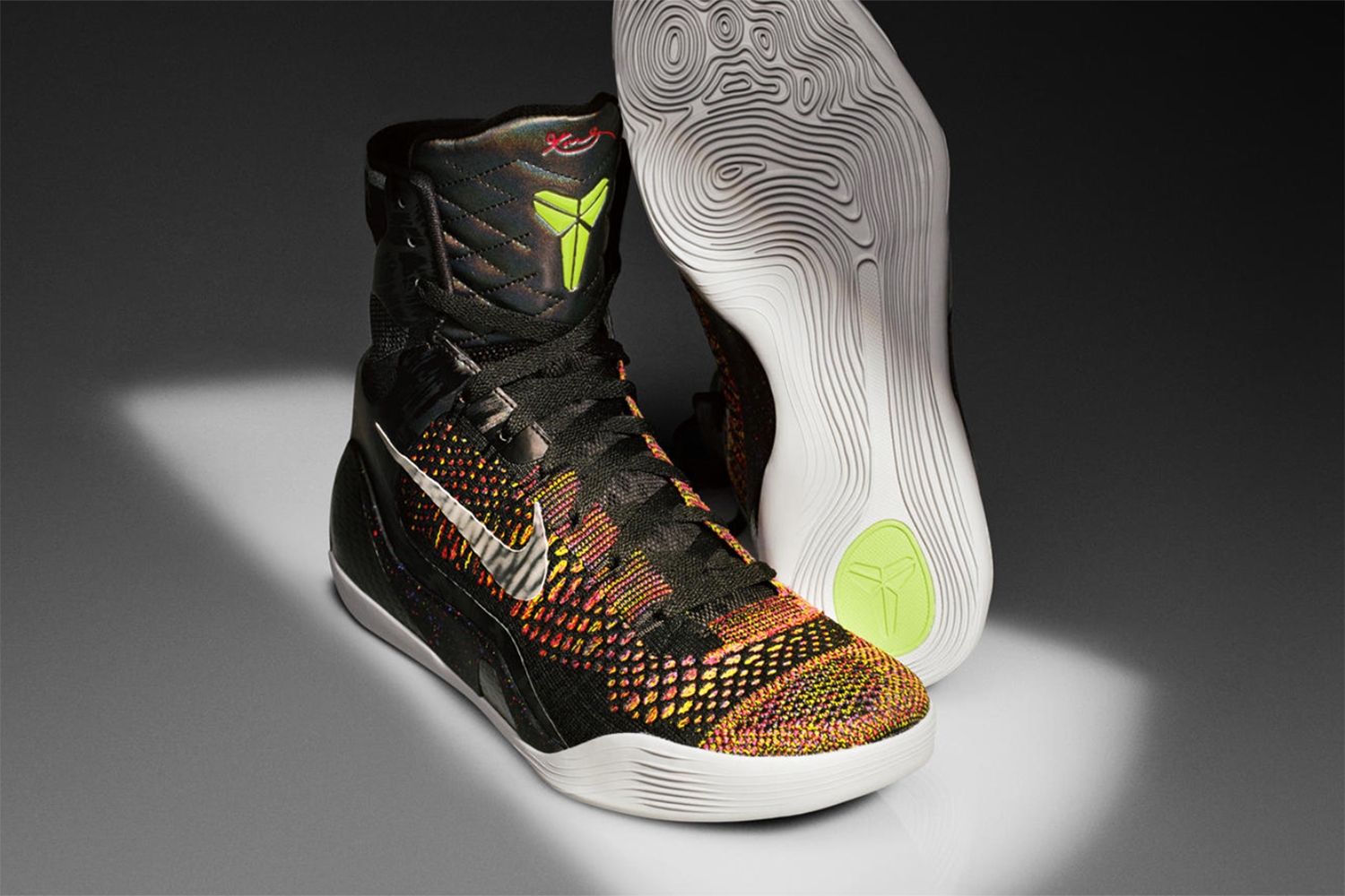Flyknit. The use of engineered yarn alone puts the Kobe 9 Elite on the top 10 list. Using Flyknit ups the comfort factor while dropping weight, giving a new wear feeling to basketball shoes. Of course, Kobe going to a super-high top shoe offers plenty of Flyknit square footage to design on for dramatic coloring and design. And whether that comes as a plus or minus is in the eye of the beholder.