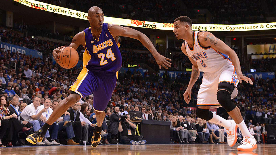 Kobe Bryant (left) is coming off a season-ending knee injury, returning to a depleted Lakers team.