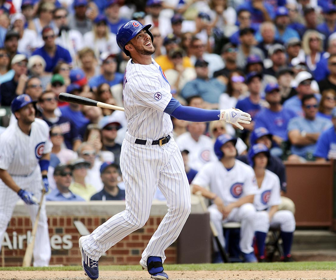 Kris Bryant of the Chicago Cubs watches his walk-off shot against the Cleveland Indians, which came with two out in the ninth inning.  The Cubs beat the Indians  2-1.
