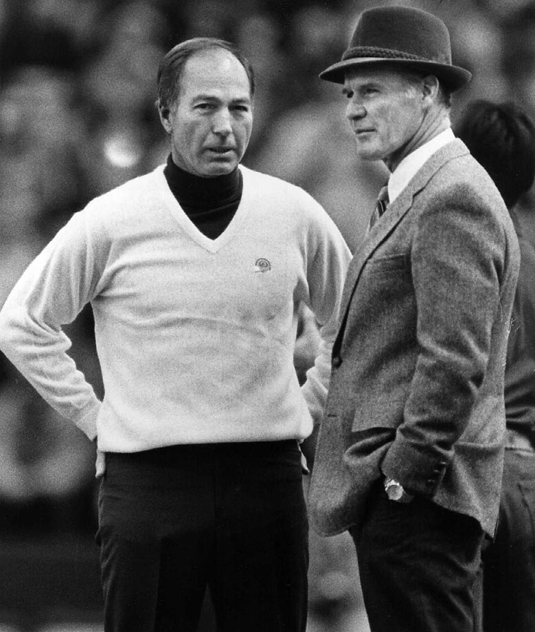 "Years after Starr and Tom Landry met in the Ice Bowl as quarterbacks, the two met later as coaches. Of Starr's call for a quarterback sneak, Landry has since said, ""It was a dumb call. But now it's a great play."" (Text credit: Shannon Carroll)"