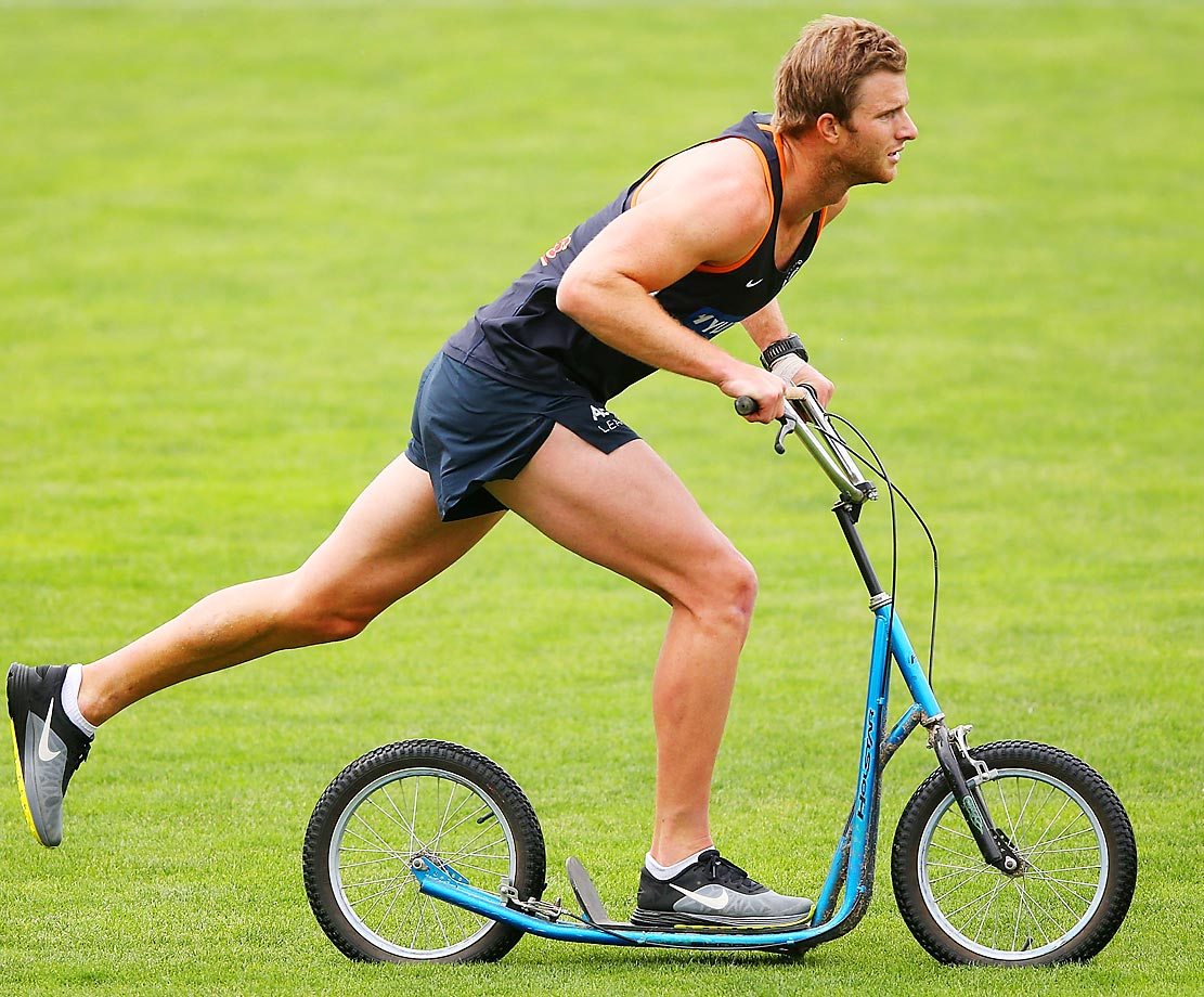 Lachie Henderson scoots by during a Carlton Blues AFL preseason training session in Australia.