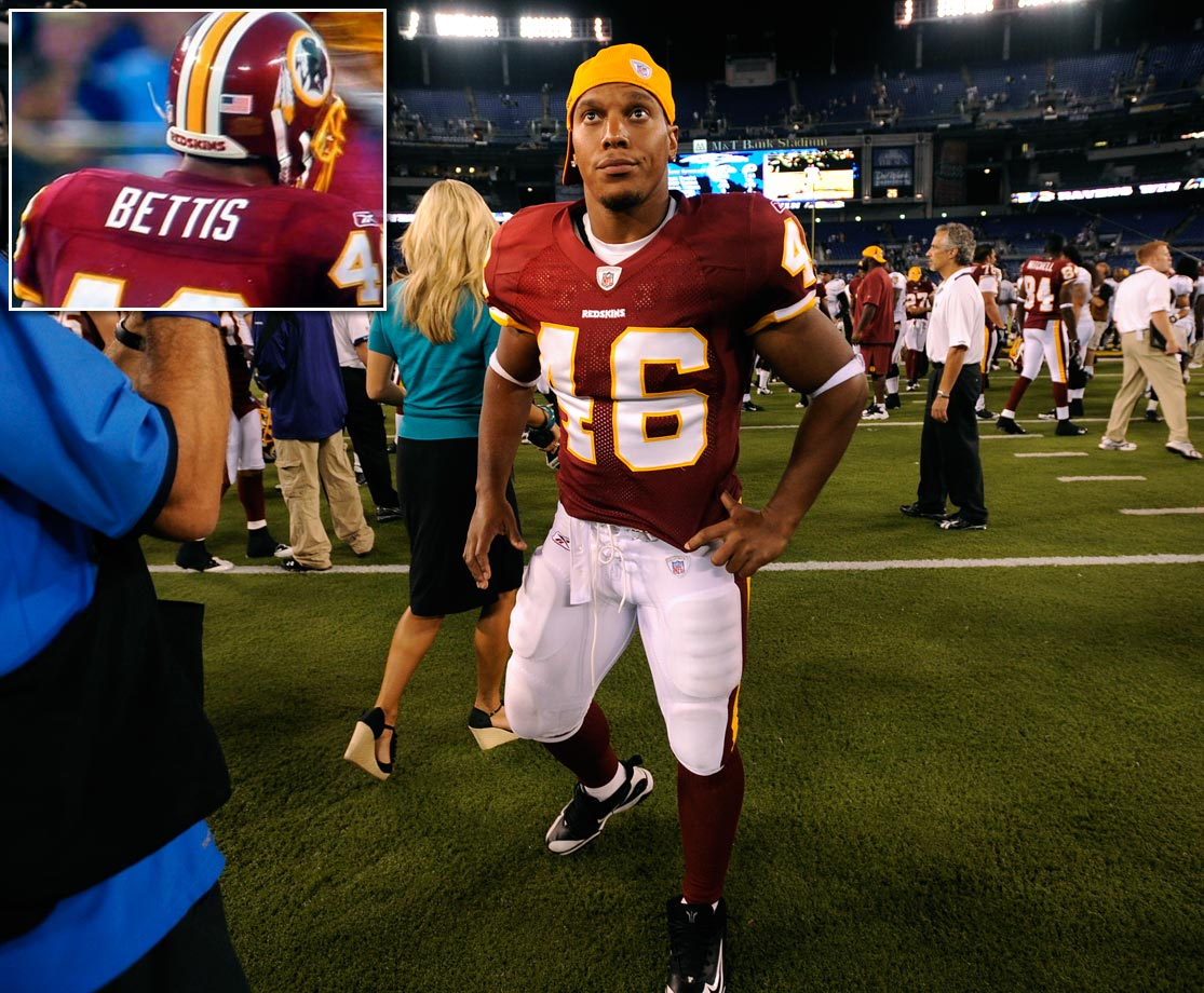 Former Redskins running back Ladell Betts wore a jersey better suited for Jerome Bettis when his team faced the Ravens in a preseason game on Aug. 13, 2009.