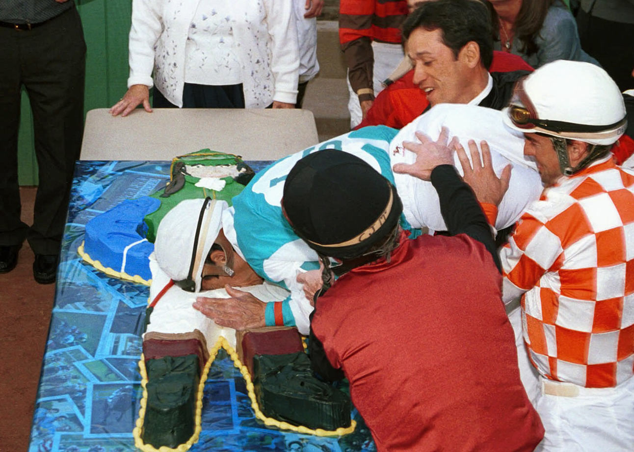 Jockey Laffit Pincay Jr. got a taste of his life-size cake for his 53rd birthday. That's awkward.