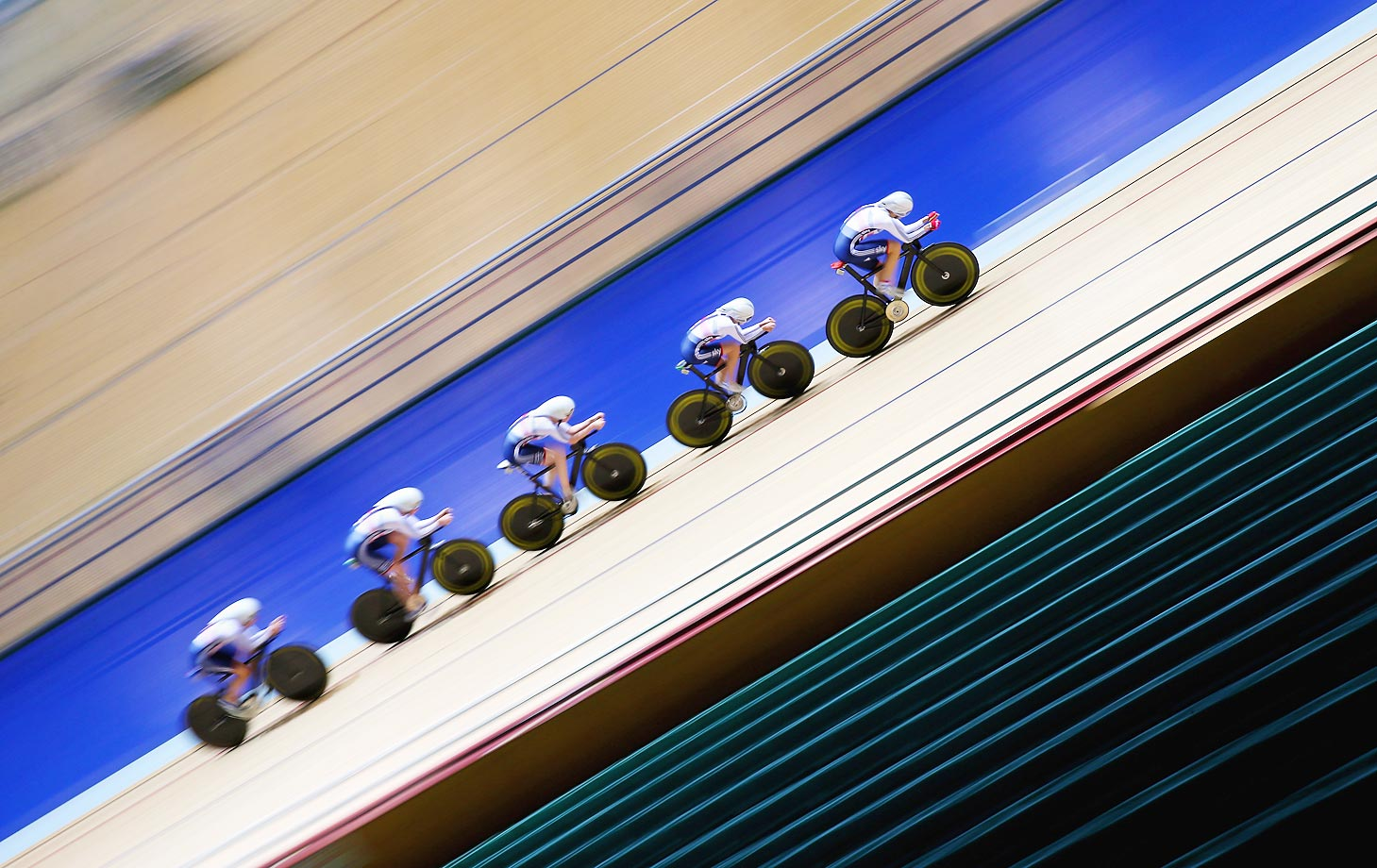 The Team GB women's endurance team of Laura Trott, Joanna Rowsell, Elinor Barker, Katie Archibald and Ciara Horne train during a Team GB Cycling Media Day at the National Cycling Centre in Manchester, England.