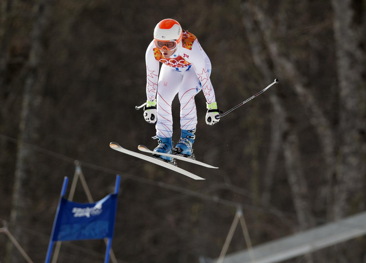 Leanne Smith of the United States during the Super Combined Downhill.