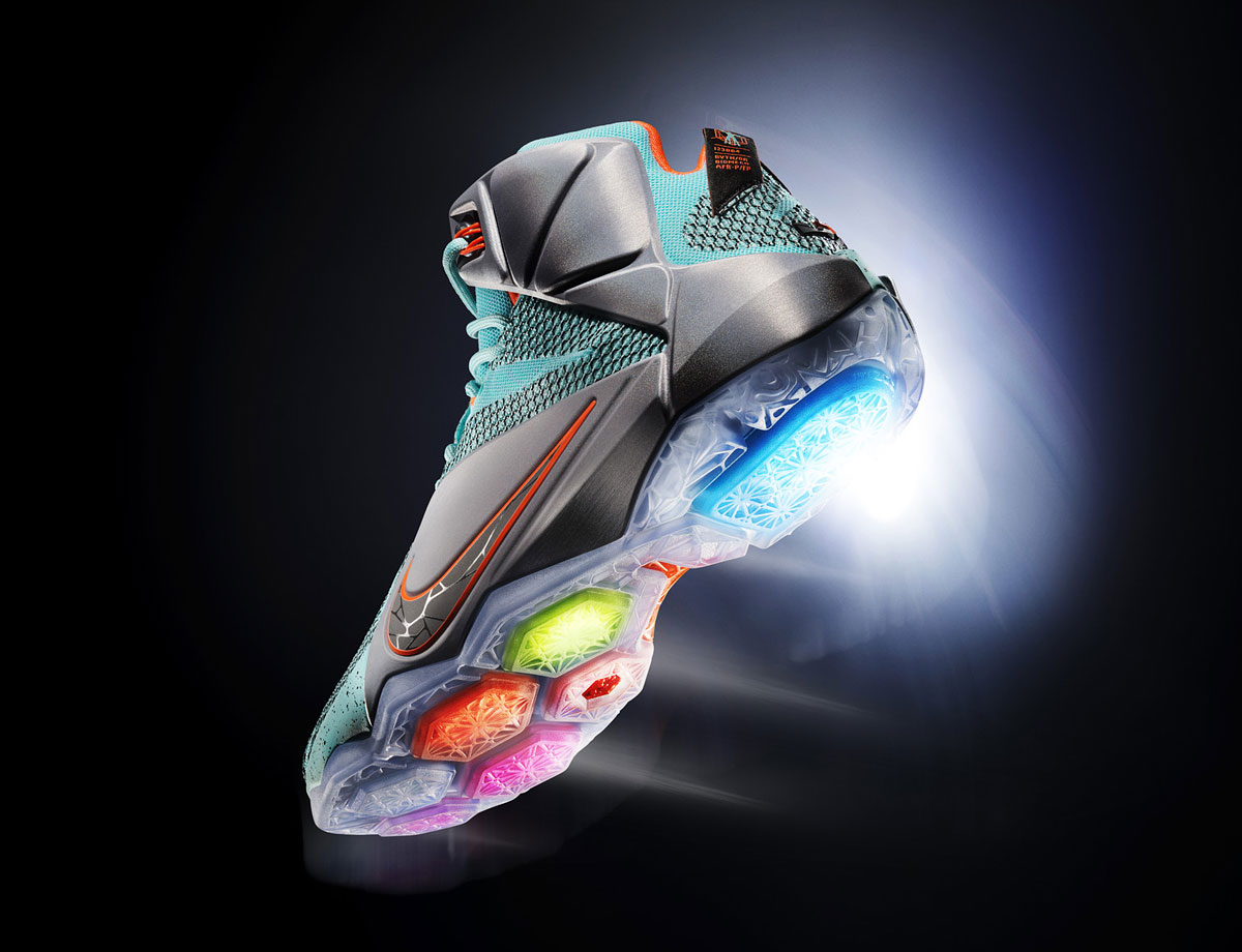 With a bit of a wild colorway inspired by Nike's Sport Research Lab, the latest in the line of LeBron's signature shoes has five visible, hexagonally-shaped Nike Zoom Air bags on the outsole. Each was placed to correspond with a basketball athlete's natural motion, aiming for increased explosiveness.