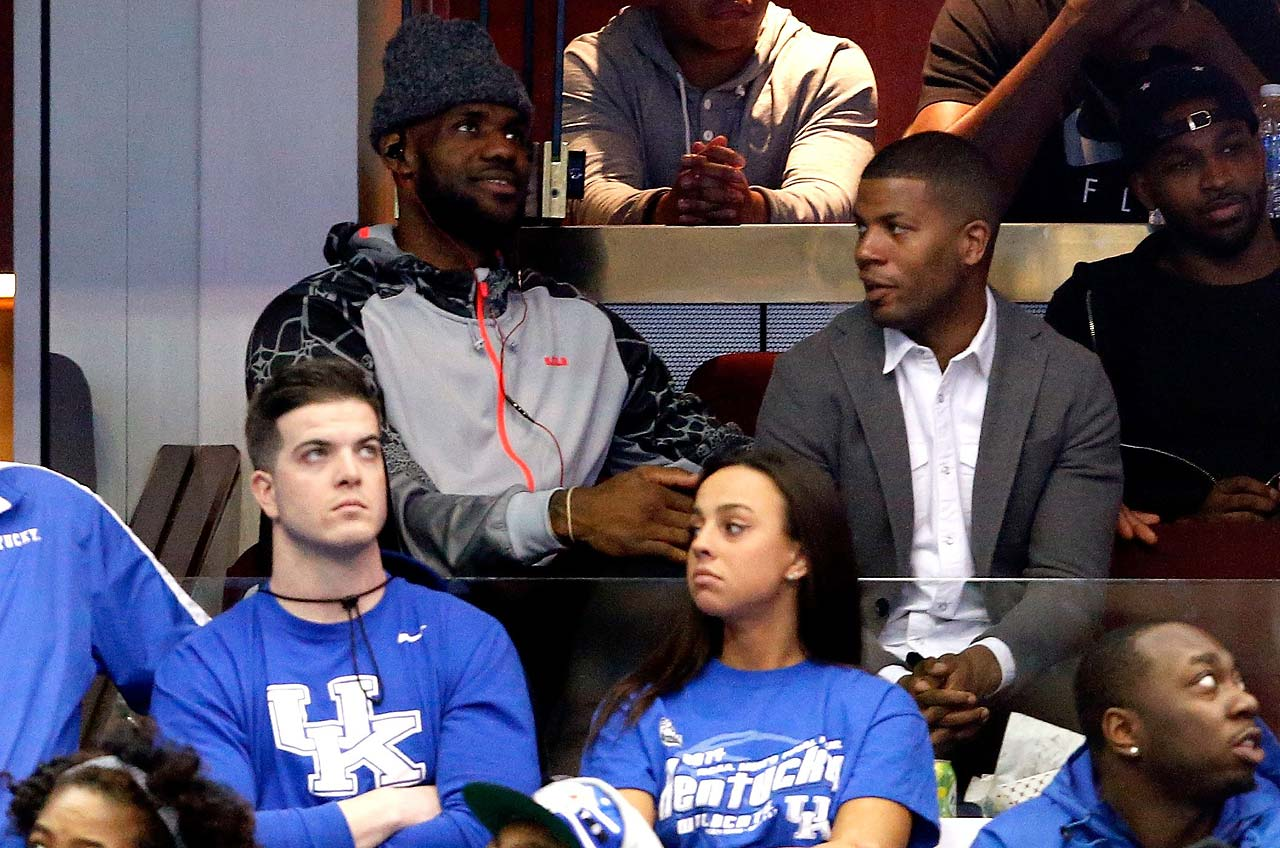 LeBron James at the 2015 Elite 8 game between Kentucky and Notre Dame, played in Cleveland.