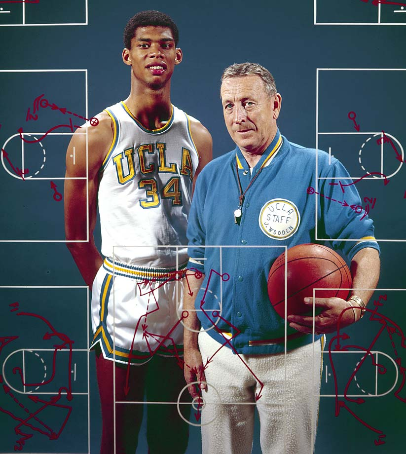 UCLA coach John Wooden poses with Kareem Abdul-Jabbar.