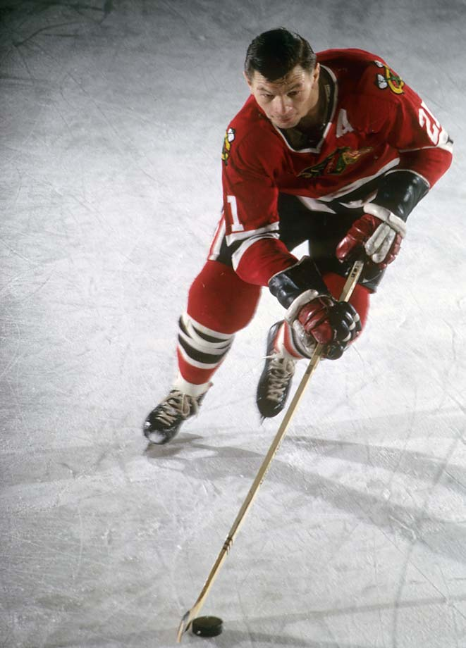 Stan Mikita of the Chicago Blackhawks during a cover photo shoot at Chicago Stadium.