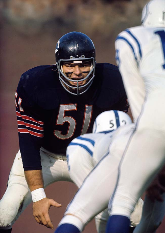 Chicago Bears linebacker Dick Butkus during a game against the Baltimore Colts at Wrigley Field.