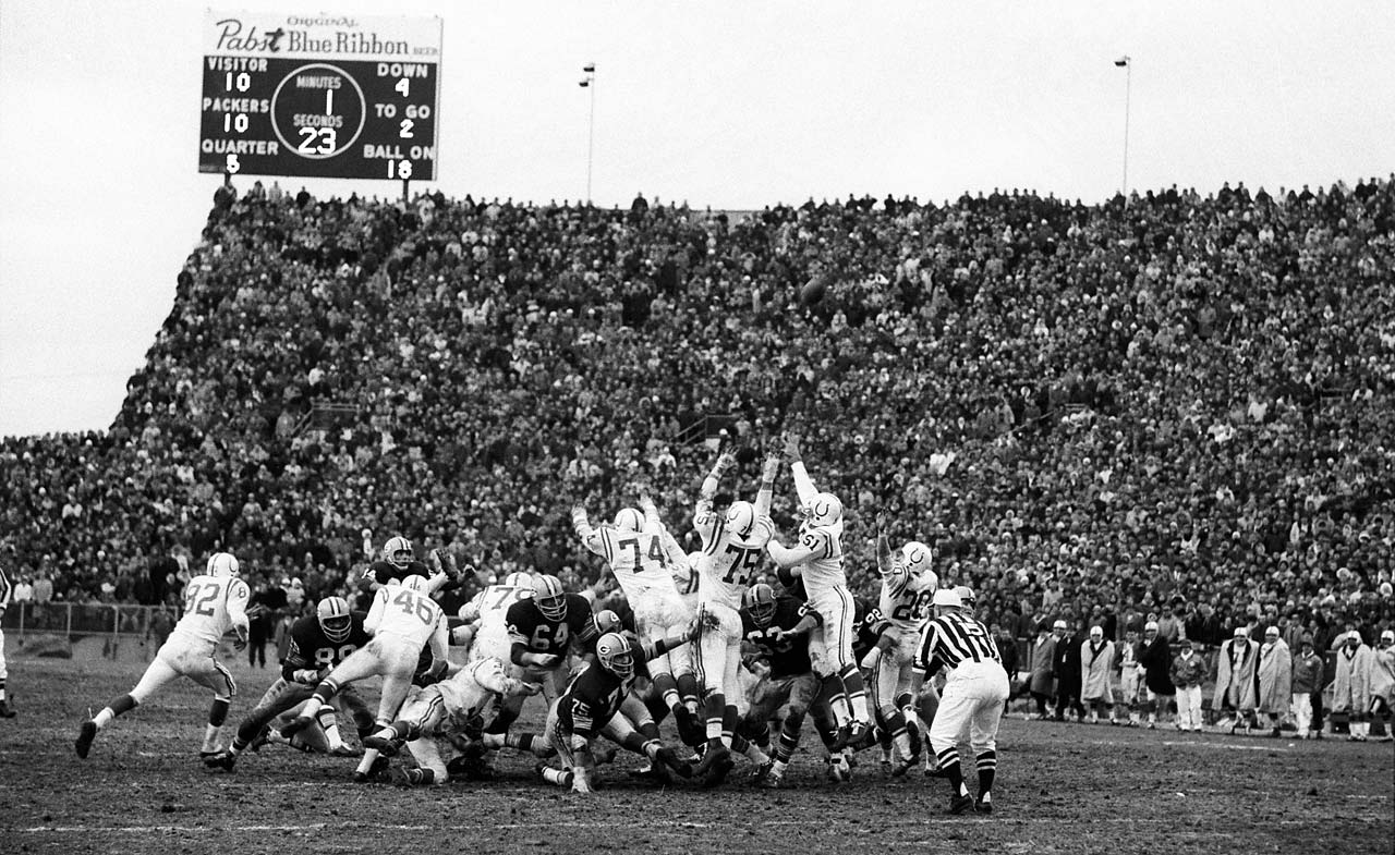 The Green Bay Packers making the game-winning field goal in overtime vs. the Baltimore Colts.