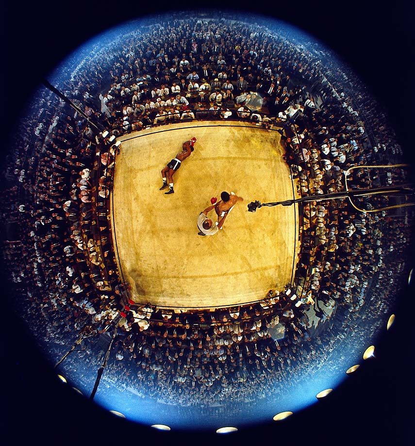 An aerial fisheye shot of Muhammad Ali's first-round knockout of Sonny Liston.