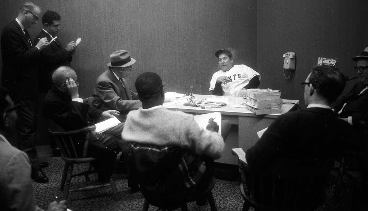 San Francisco Giants manager Herman Franks speaks to members of the press after beating the Los Angeles Dodgers at Candlestick Park.