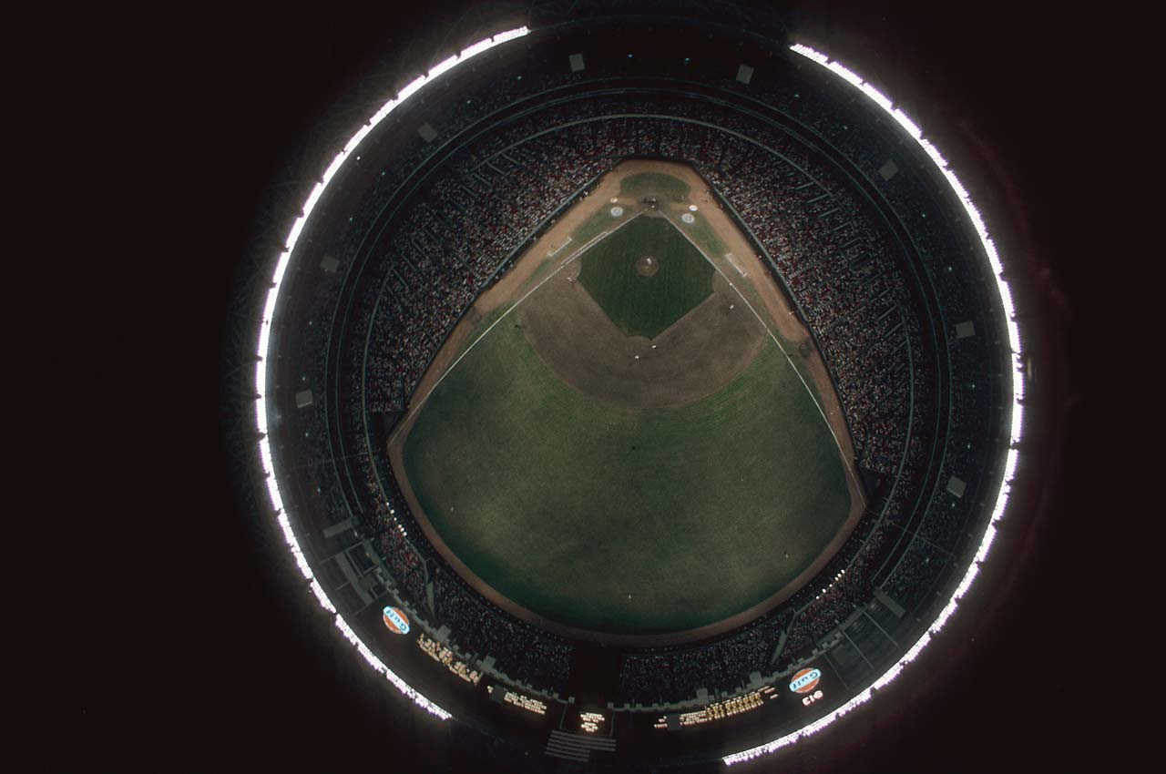 Aerial view of the field at the Astrodome during a game between the Houston Astros and the Cincinnati Reds.
