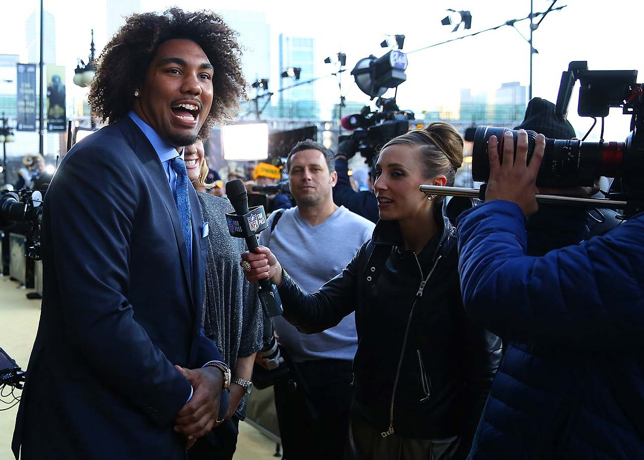 Leonard Williams is interviewed outside the draft venue before being taken by the New York Jets.