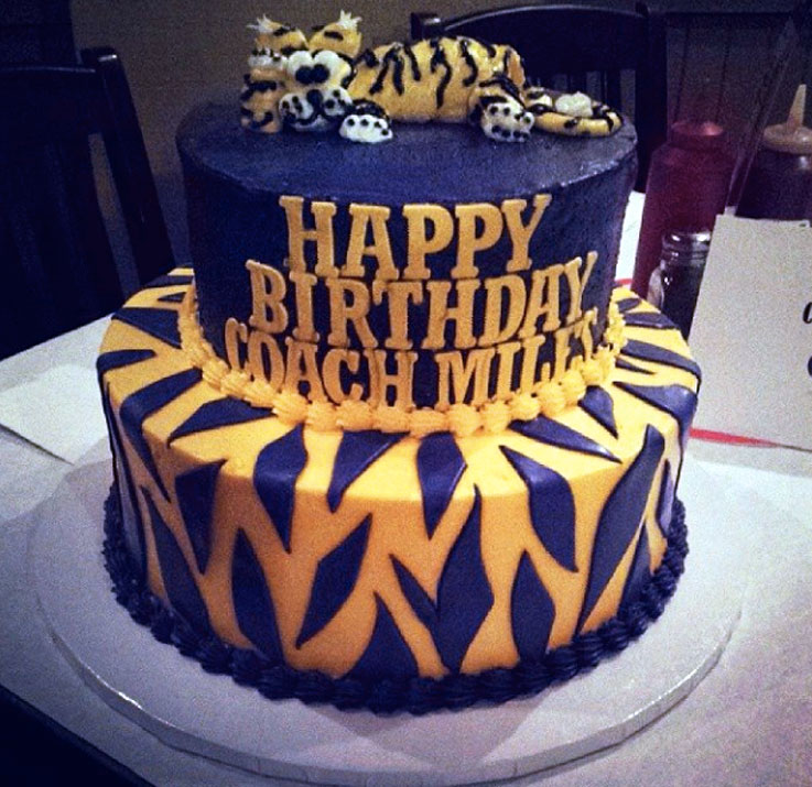 Les Miles' players celebrated his 60th birthday by giving him this purple and gold cake.