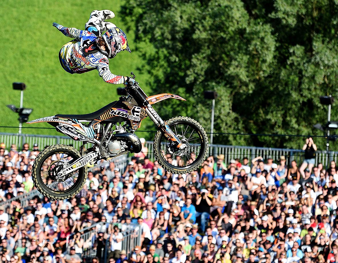 Levi Sherwood attempts a Rodeo Air while competing in the Red Bull X-Fighters World Tour in Munich, Germany.