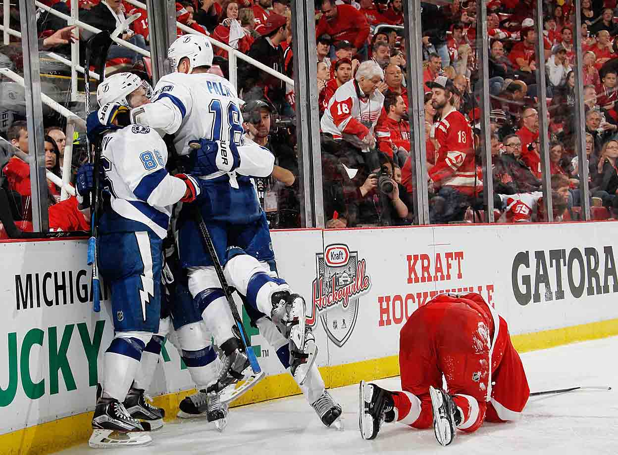 Down 2-0 in Game 4 of their surprisingly challenging first round series against Detroit, the Lightning rally in the third period by scoring twice in 77 seconds to send the game to overtime. In the extra frame, Tyler Johnson adds to his budding 2015 playoff legend by scoring his second goal of the game, tying the series at two games apiece. In the next round against Montreal, Johnson will beat the Habs with a memorable buzzer beater in Game 3.