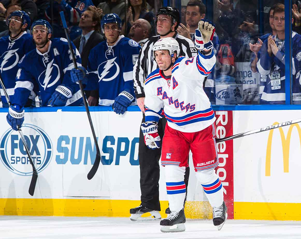 Martin St. Louis plays in Tampa Bay for the first time as a New York Ranger. During his 13-year run with the Bolts, he was a fan favorite who notched 365 goals and 953 points, with five All-Star Game nods, three Lady Byng and two Art Ross plus Hart and Pearson trophies in 2003-04. The player he was traded for, Ryan Callahan, spoils St. Louis's evening by leading the Bolts to a 4-3 win with two goals and an assist.