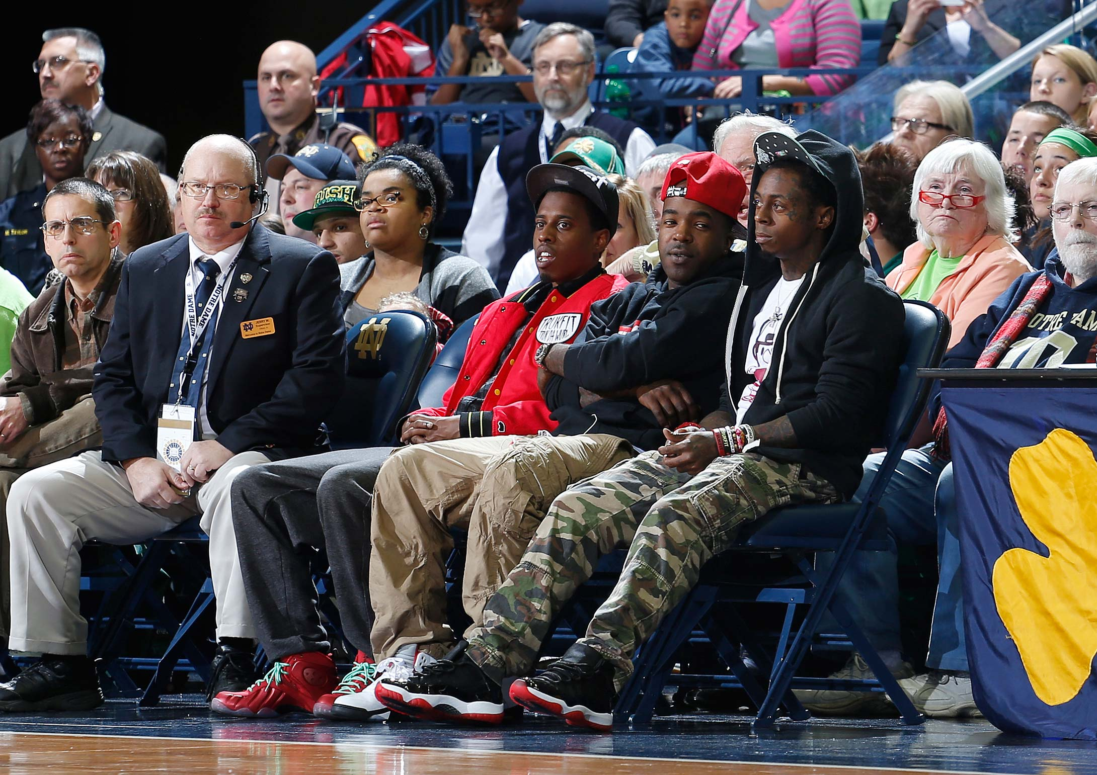 Rapper Lil Wayne watches the 2012 game between Notre Dame and Baylor in South Bend, Ind.