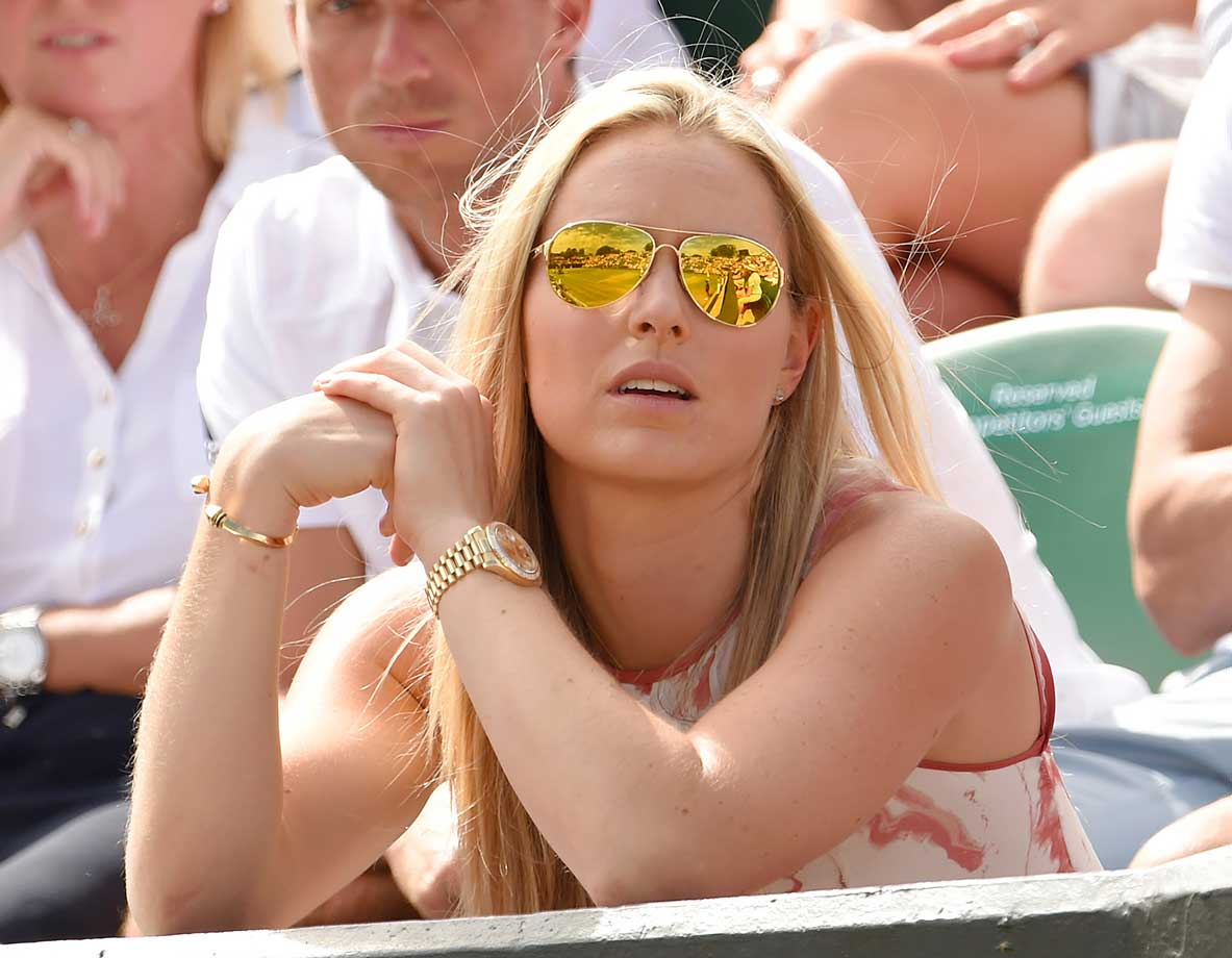 Lindsey Vonn attends day seven of the 2015 Wimbledon Tennis Championships.